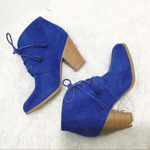 JC Faux Blue Suede Lace Up Ankle Booties